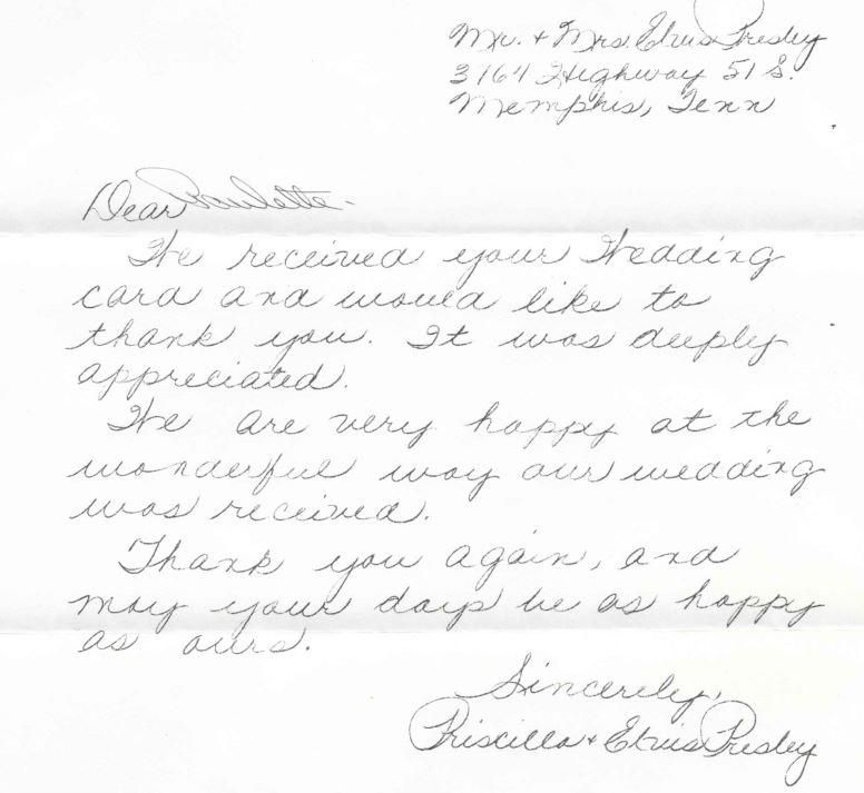 priscilla presley 1967 thank you letter for wedding wishes thank you letter priscilla presley