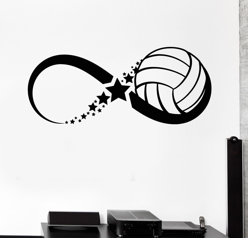 Vinyl Wall Decal Volleyball Ball Sport Game Infinity Stickers Unique Gift 385ig Wall Stickers Sports Volleyball Decorations Volleyball