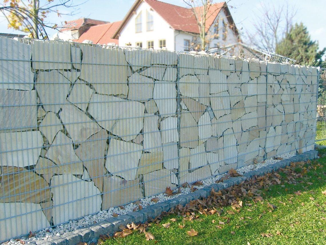 Grosse Steinplatten In Einer Gabione Moglichkeiten Fur Die