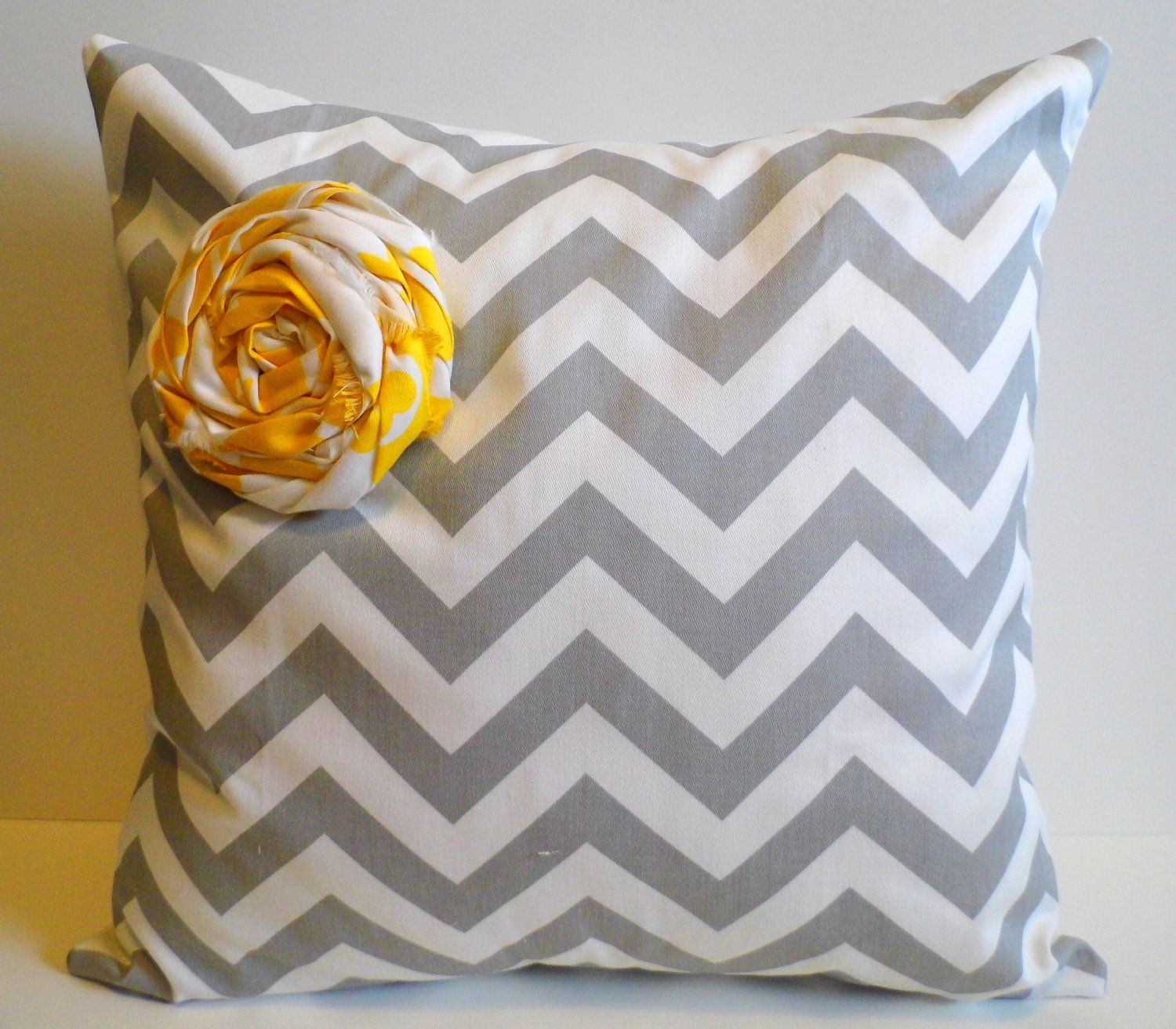 Chevron Throw Pillow 18x18 Cover Grey and White Yellow Rosette. $35.00, via Etsy. DIY: Pillow ...