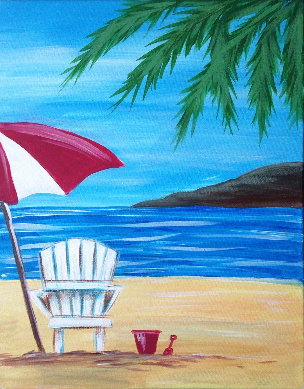 Beach Chair Painting Alan Metzger Regarding Beach Chair And Umbrella Painting Beach Chair And Umbrella Paintin Painting Summer Painting Beach Canvas Paintings