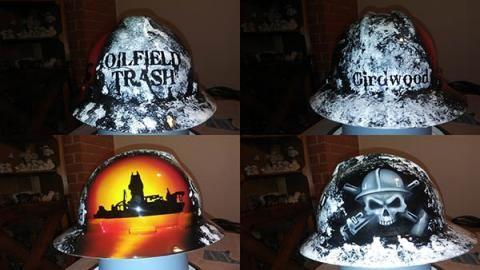 abb1ec352 oilfield trash drill ship hard hat custom painted | The List | Hats ...