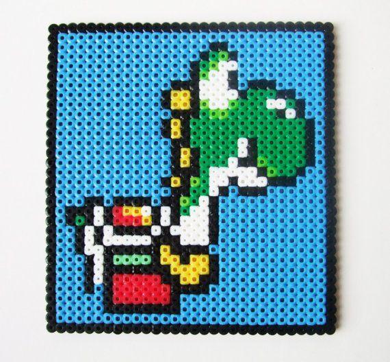 Yoshi Super Mario Wall Hanging - Nintendo Perler Bead Retro Video Game Decoration or Coaster via Etsy