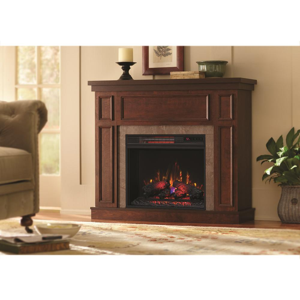Granville 43 In Convertible Mantel Electric Fireplace In Antique Cherry With Faux Stone Su Electric Fireplace Best Electric Fireplace Faux Fireplace