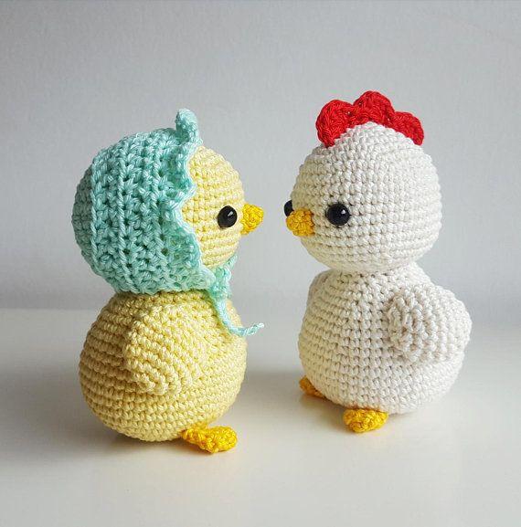 Amigurumi Crochet pattern Ella and James, the little chicks PDF (English/German)