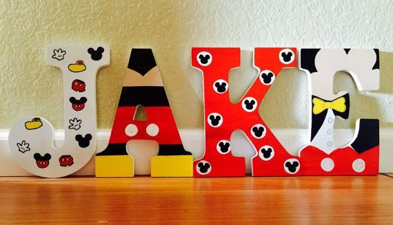 Mickey Mouse Hand Painted Letters Kids Room Nursury Decor Hand Painyed Wood Letters Mickey
