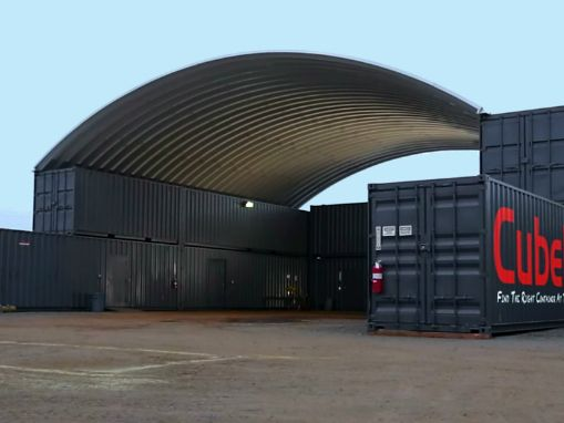Cube Depot Recently Had Us Make A Container Roof With Outside Corner Connections To Double S Container Buildings Shipping Container Shipping Container Workshop