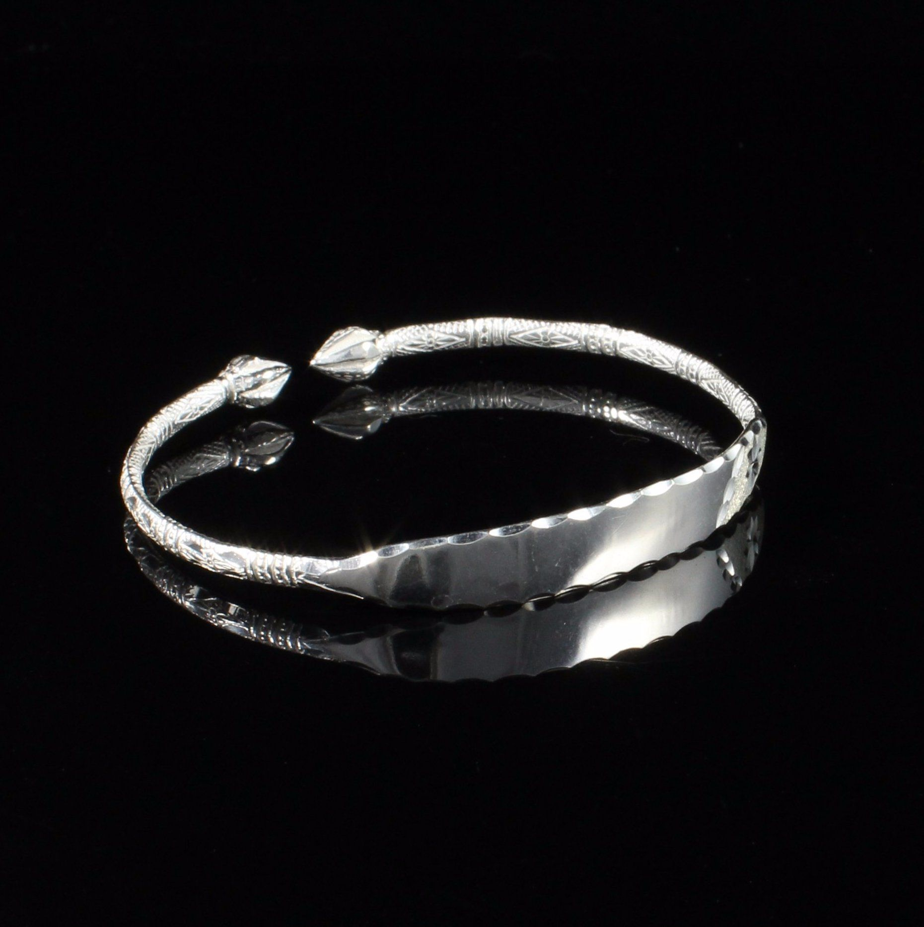 090 Cocoa Pod West Indian Bangle RING handmade in 925 Sterling Silver