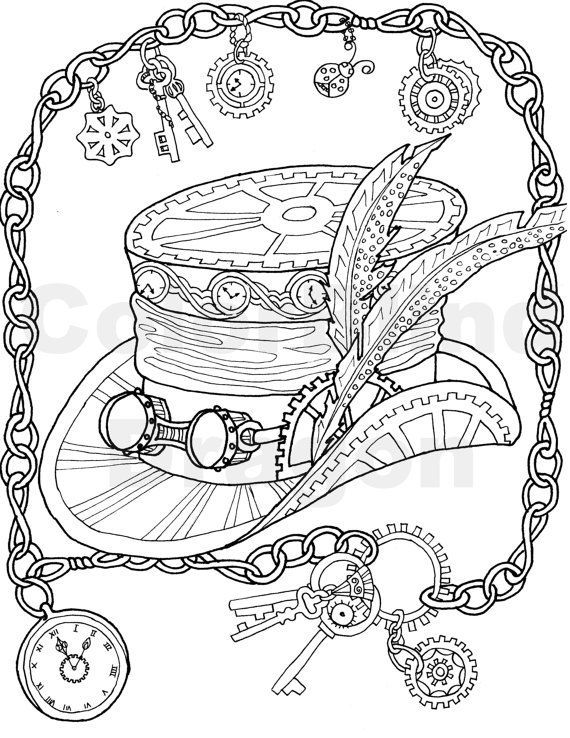 Steampunk coloring page, Top Hat, Coloring page, mechanical, feather ...