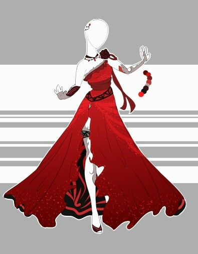 Red Rose Drawing Clothes Anime Outfits Costume Design