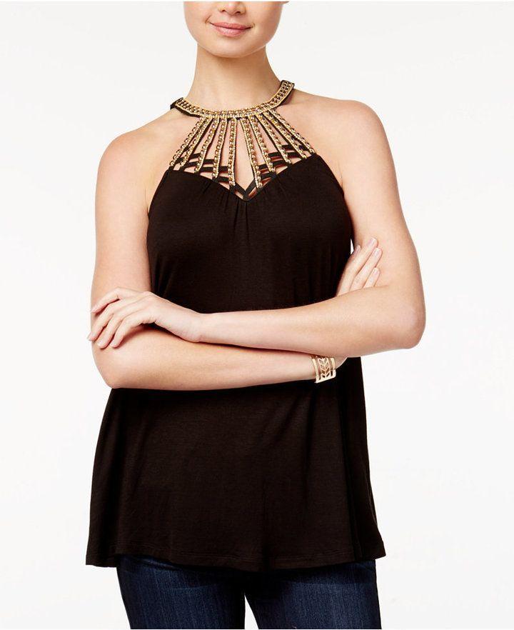 New Women/'s Junior Embellished Sleeveless Tank Top