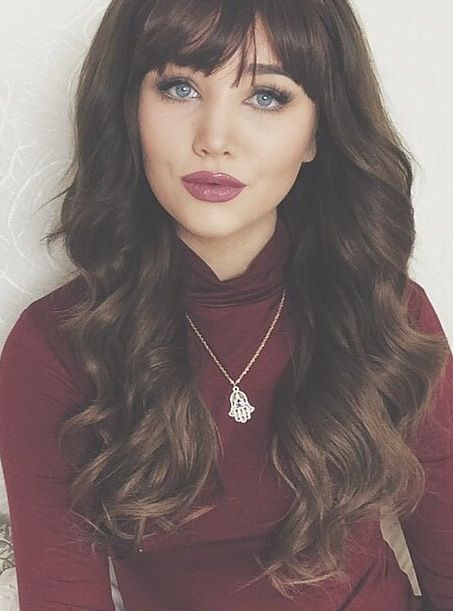 Brunette With Blue Eyes Love The Fringe Bangs And Makeup Stunning Picture From Bellami Hair S Instag Dark Hair Blue Eyes Brunette Blue Eyes Hair Pale Skin