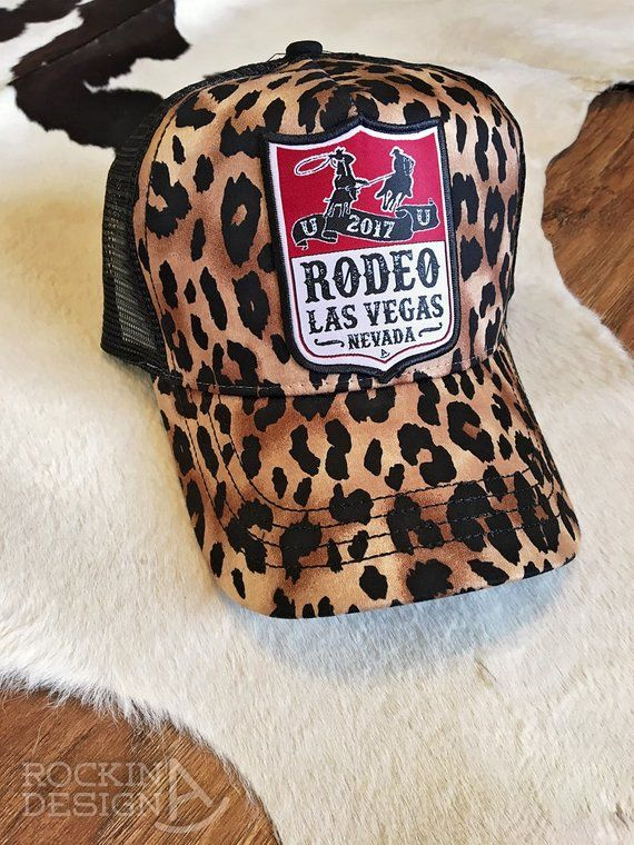 Rodeo Las Vegas 2017 leopard patch cap   Rodeo Back Number Team Roping  Ropers 265f41f134bc