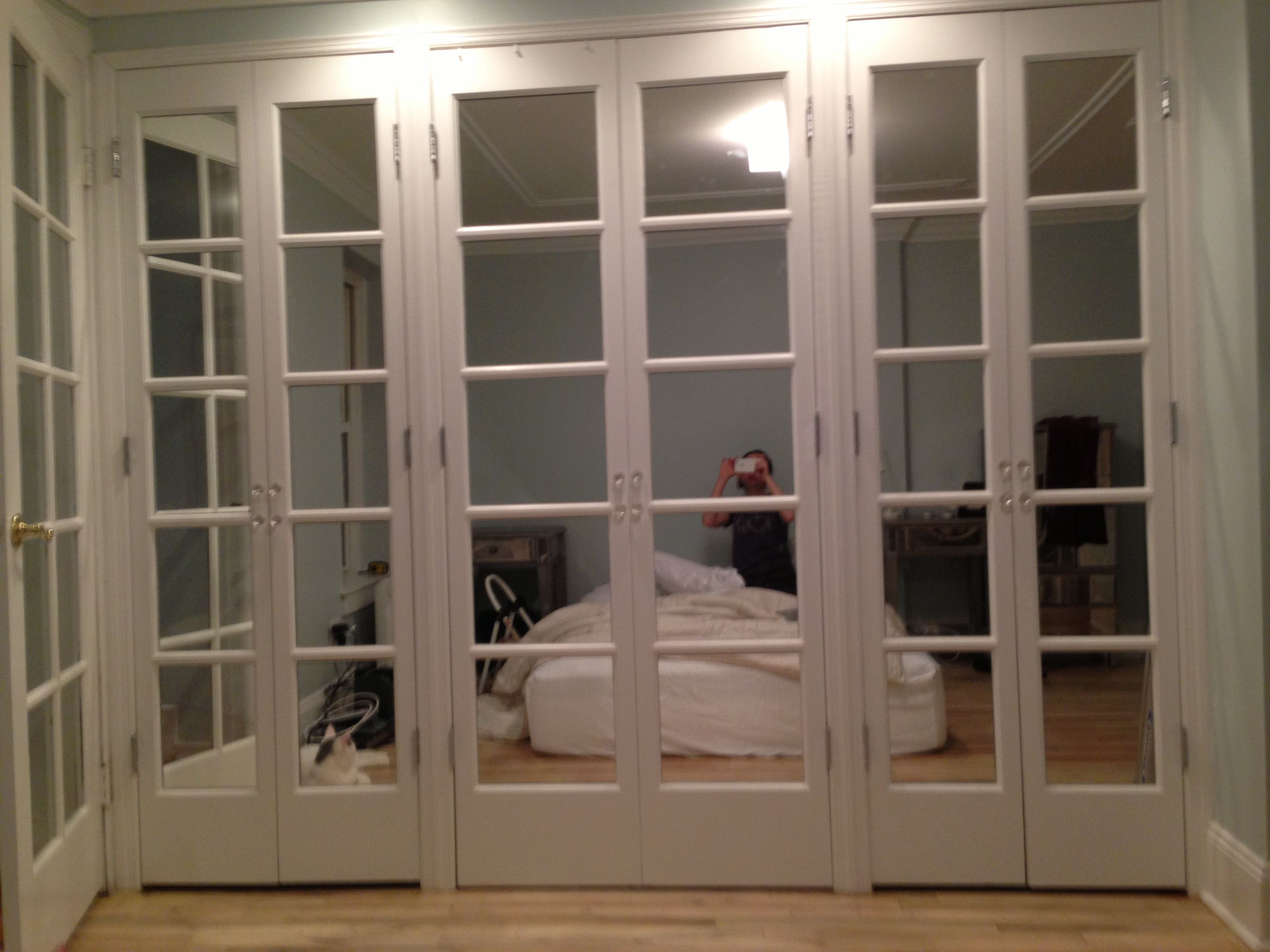 Mirrored French doors in bedroom | Bedroom | French closet ...