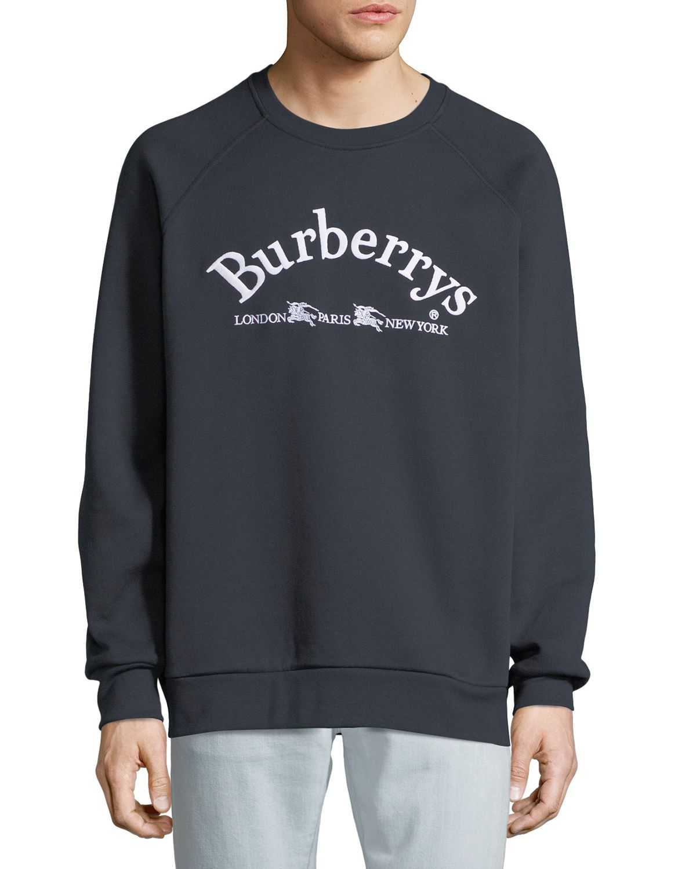 Burberry Men S Battarni Embroidered Logo Jersey Crewneck Sweatshirt Sweatshirts Crew Neck Sweatshirt Mens Designer Hoodies [ 1500 x 1200 Pixel ]