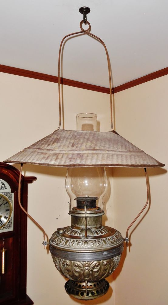 Antique The Rochester Country Store Oil Kerosene Hanging Lamp Orig Tin Shade Antique Lamps Antique Chandelier Antique Oil Lamps