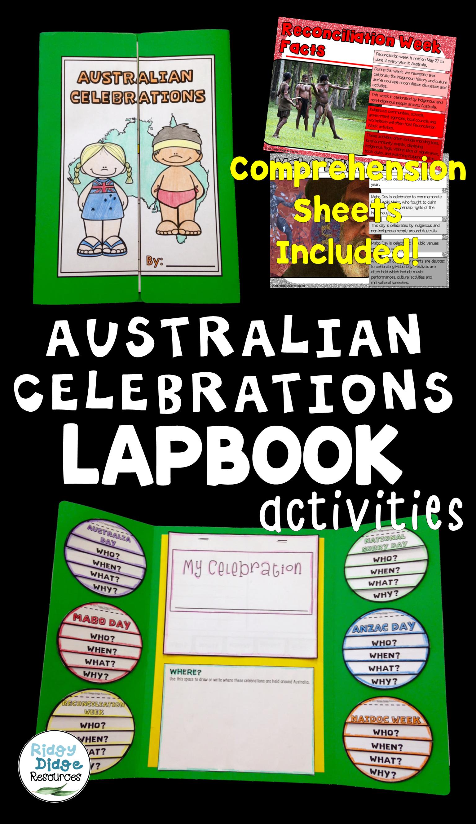 Australian Celebrations Lapbook Activities Australian