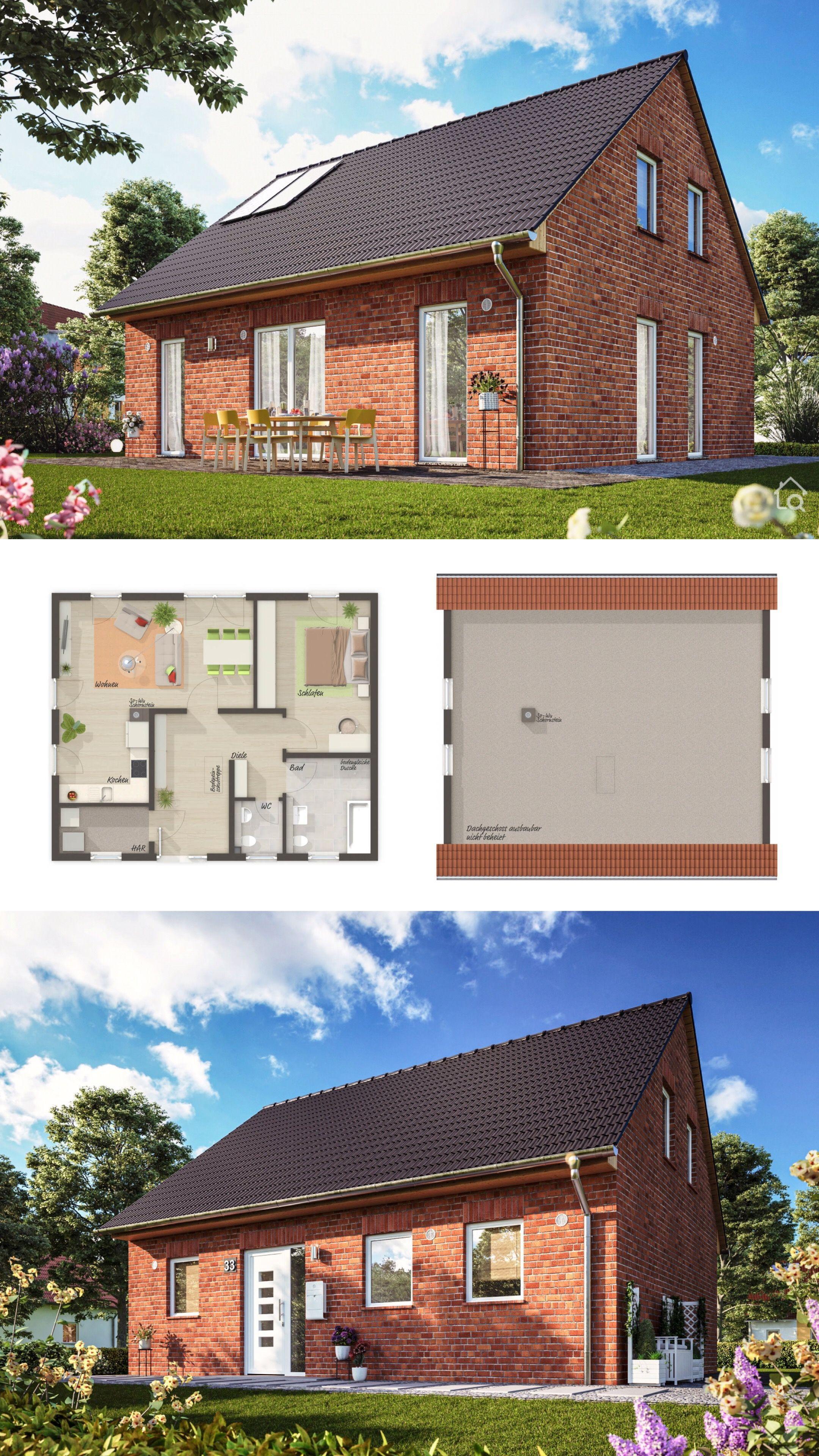 Modernes Massivhaus mit Satteldach & Klinker Fassade, 2