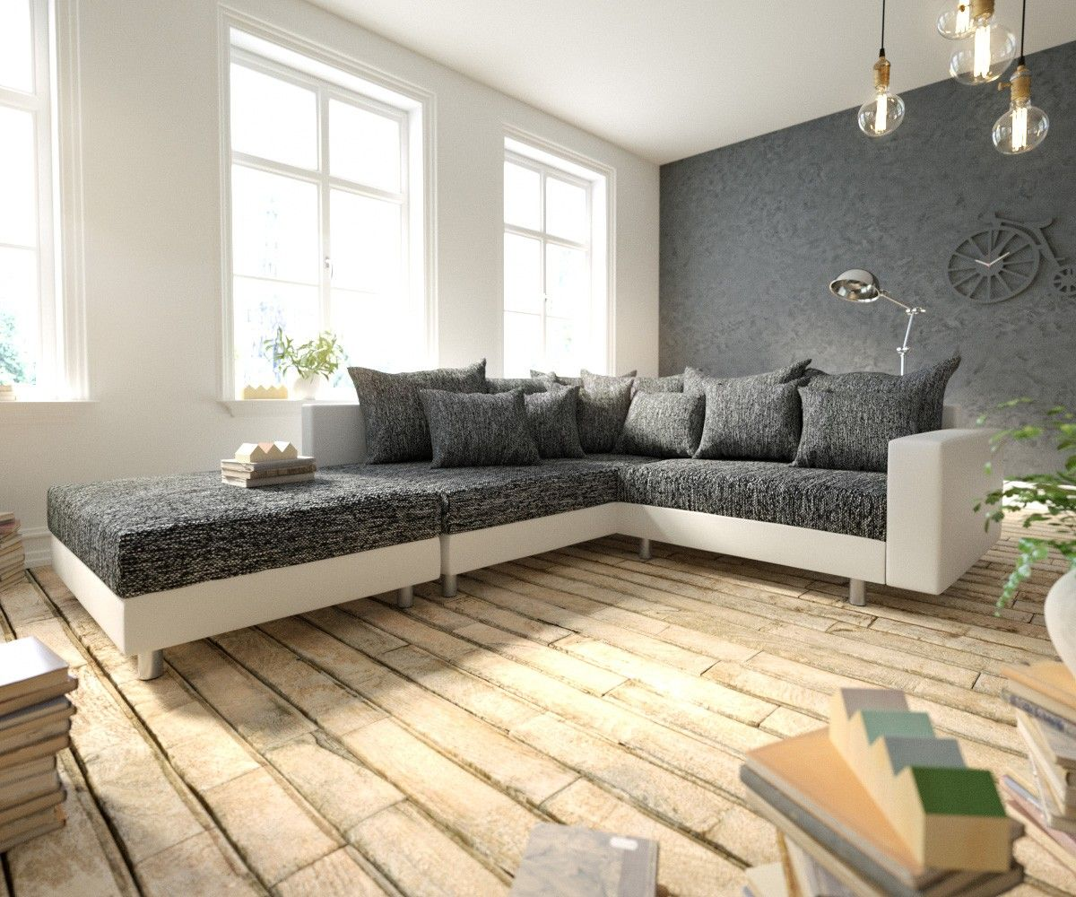 Delife Ecksofa Clovis Weiss Schwarz Modular Armlehne Hocker Ottomane Links Design Ecksofas Couch Loft Modulsofa Modular Modulares Ecksofa Sofa Design Modul Sofa