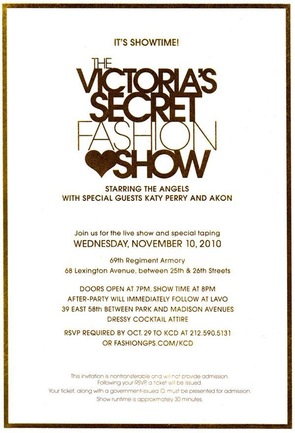 Victorias secret invitation google search rush pinterest victorias secret fashion show tickets stopboris Choice Image