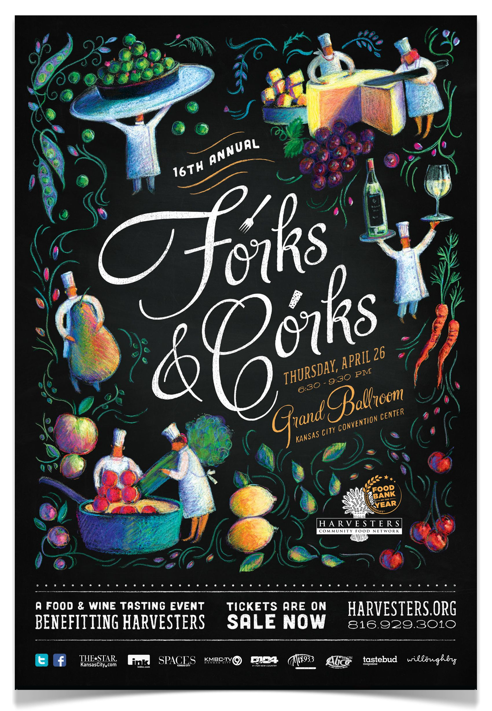 Forks & Corks Posters by Willoughby Design