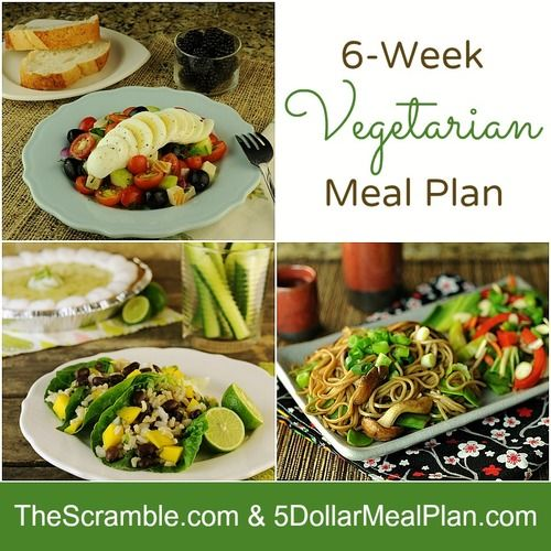 Family-friendly 6-Week Vegetarian Meal Plan from The Six O'Clock Scramble. Full of quick and mouthwatering recipes and a complete shopping list for each week.