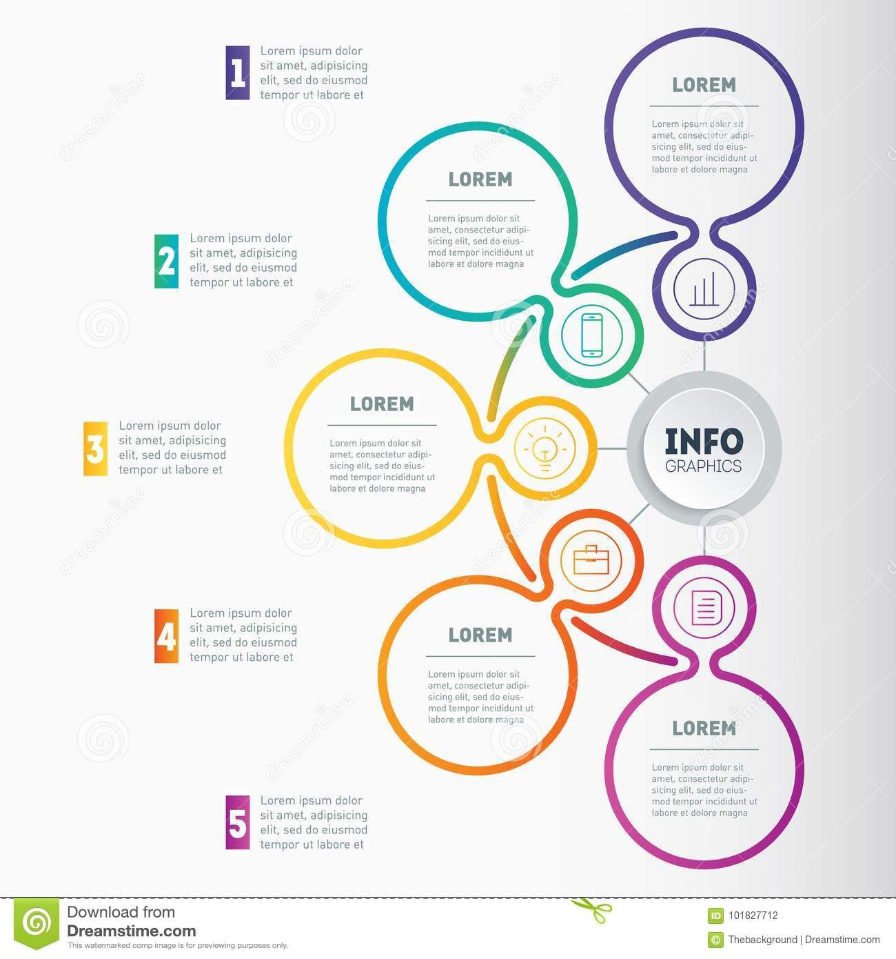 Web Template Of A Chart Mindmap Or Diagram With 5 Steps Vector
