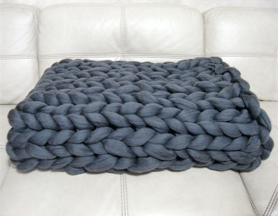 Large Knitting Blankets : Big knit chunky blanket acrylic material