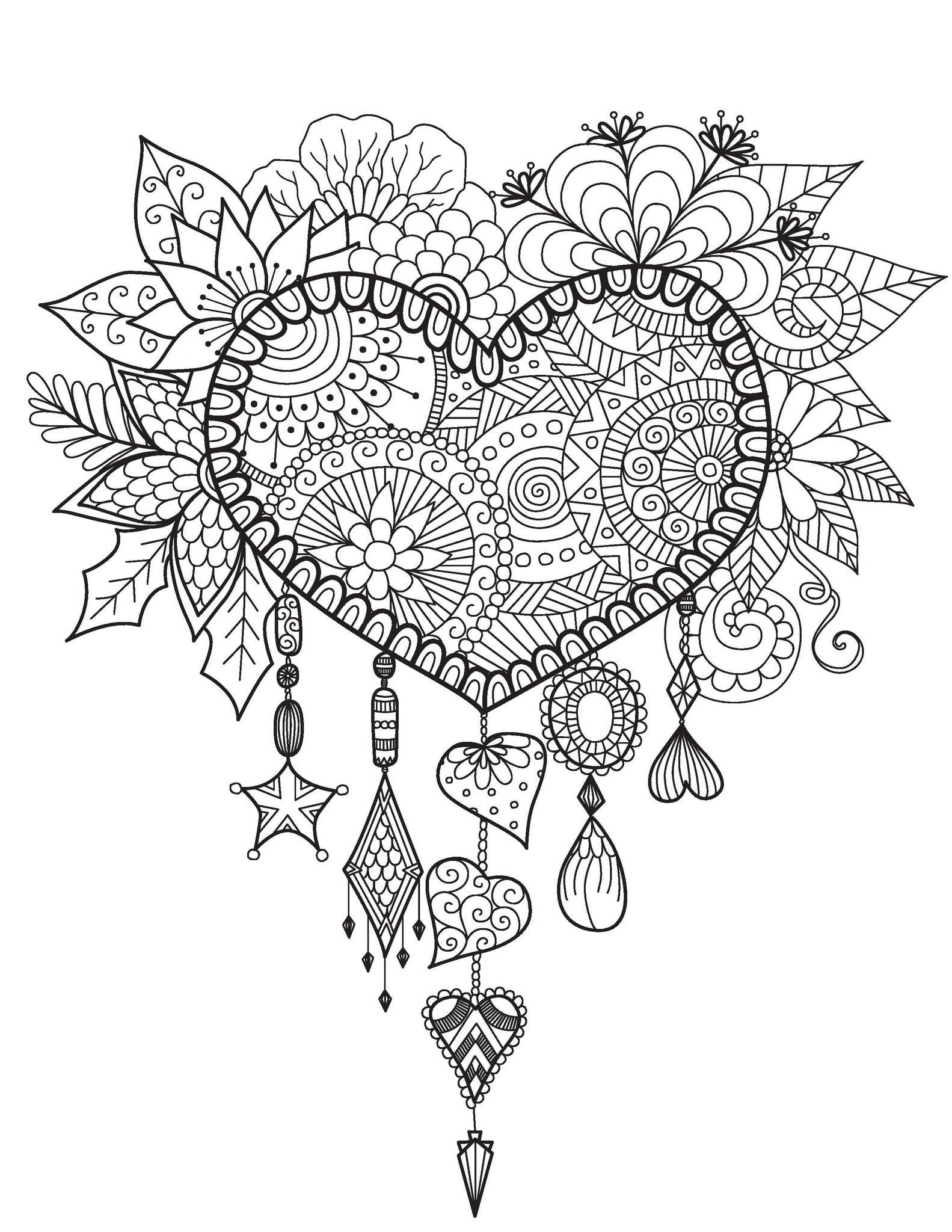 Medium Designs For Adults Who Color Live Your Life In Color Series Heart Coloring Pages Dream Catcher Coloring Pages Mandala Coloring Pages