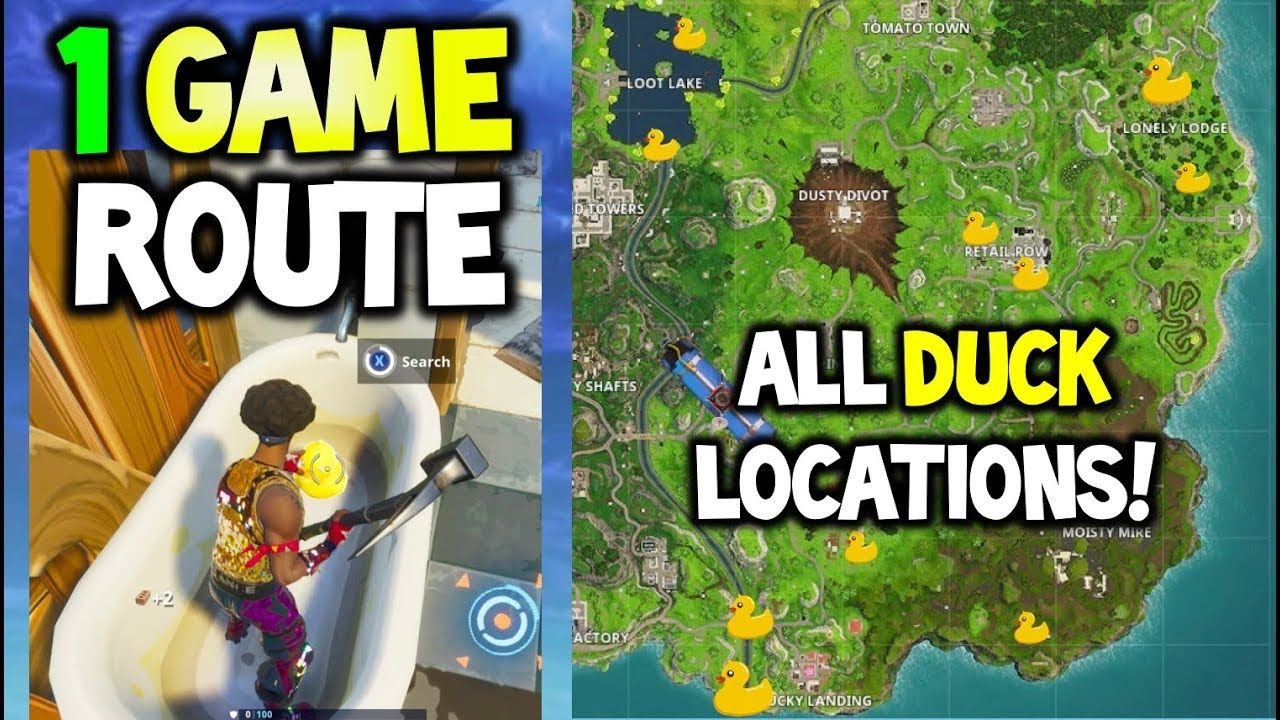 Search Rubber Duckies All Locations In 1 Game Faster Route Fortnite Week 3 Challenges Season 4 Fortnite Battle Royale Fortnite Rubber Ducky Season 4