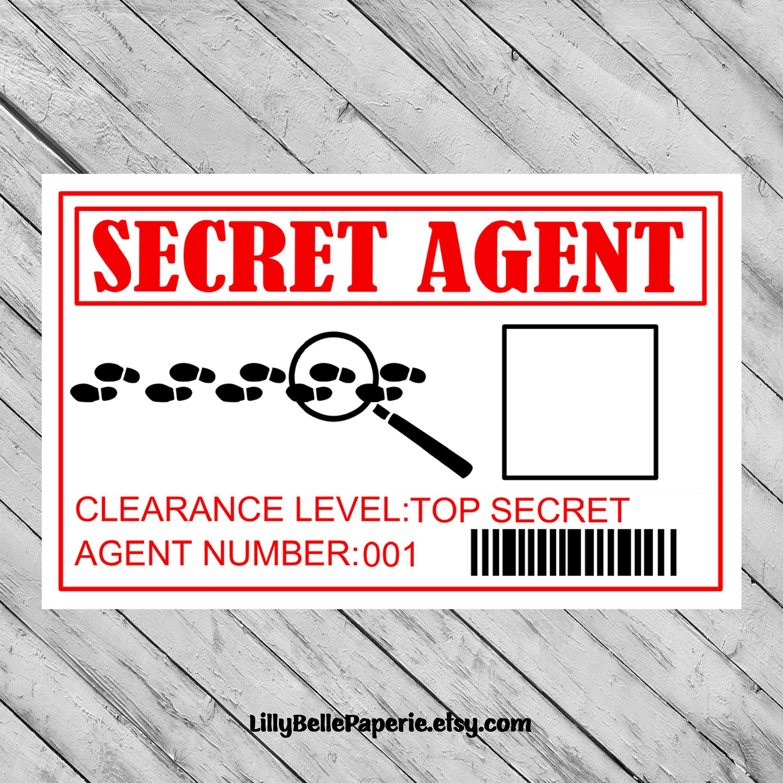 Spy Secret Agent Id Badge Top Secret Badge Secret Agent Id