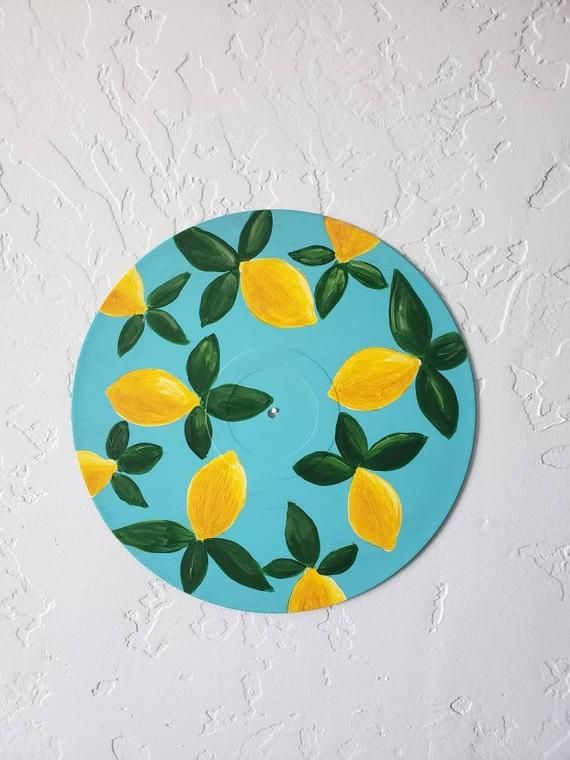 Lemon Art Record Art Vintage Art Art On Vinyl Acrylic Painting Acrylic Art Kitchen Art Gift Home Decor Happy Art Relaxing Art In 2020 Diy Art Painting Vinyl Record Art Diy