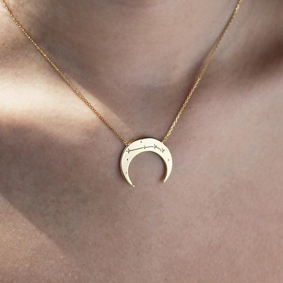 Crescent aries zodiac gold necklace accessories pinterest