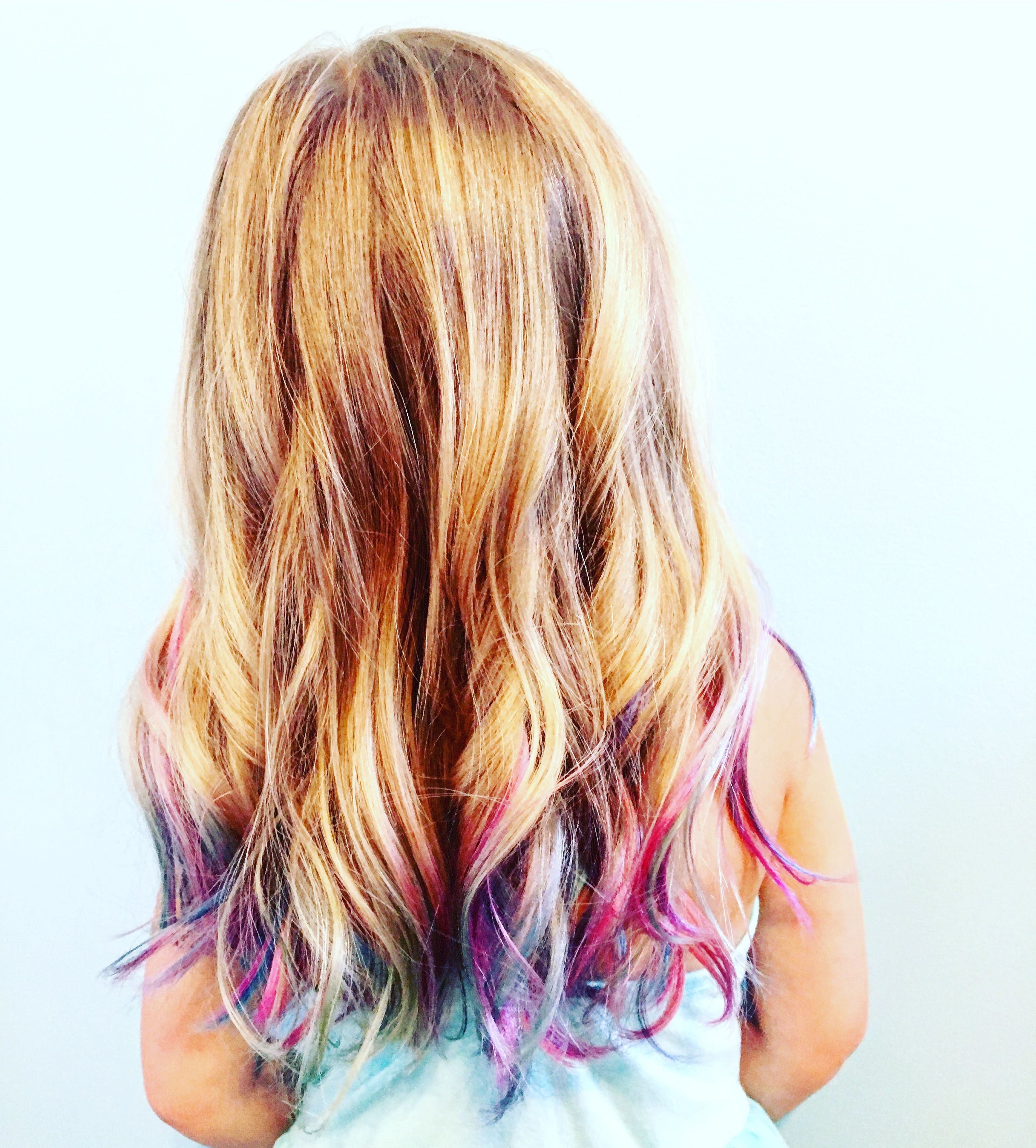 Little Girls Colorful Mermaid Hair Colored Hair Tips Girl Hair Colors Mermaid Hair Color