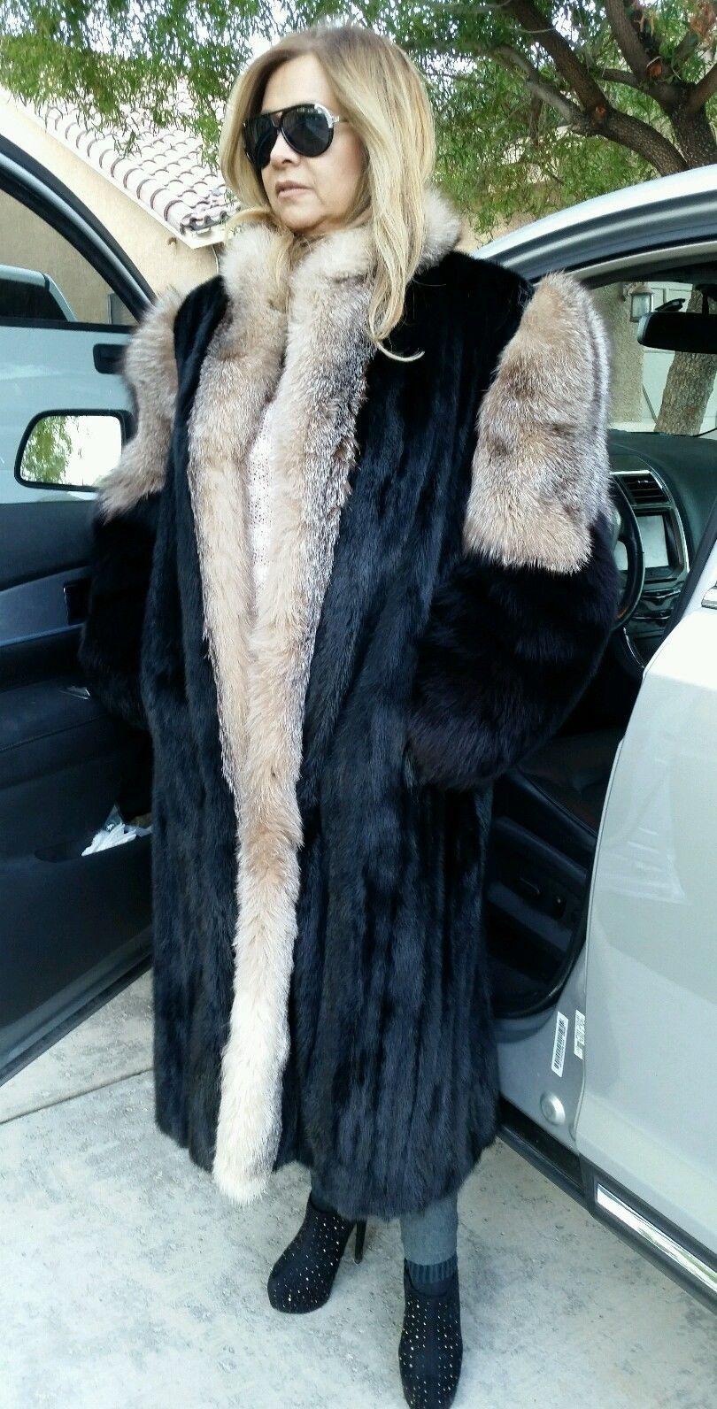 Women's full length mink & crystal/black fox fur coat charles ...