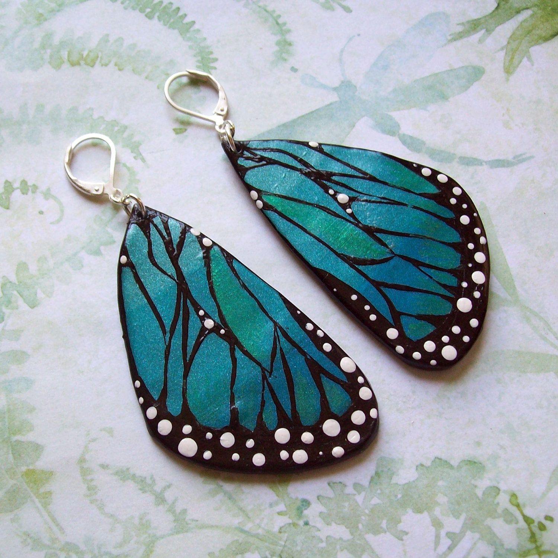 Large Blue Butterfly Wings Earrings Jewelry Polymer