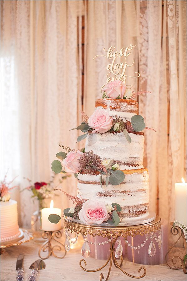 semi #naked wedding #cake @weddingchicks