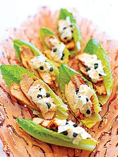 Chicken-and-Caper Caesar Salad spears