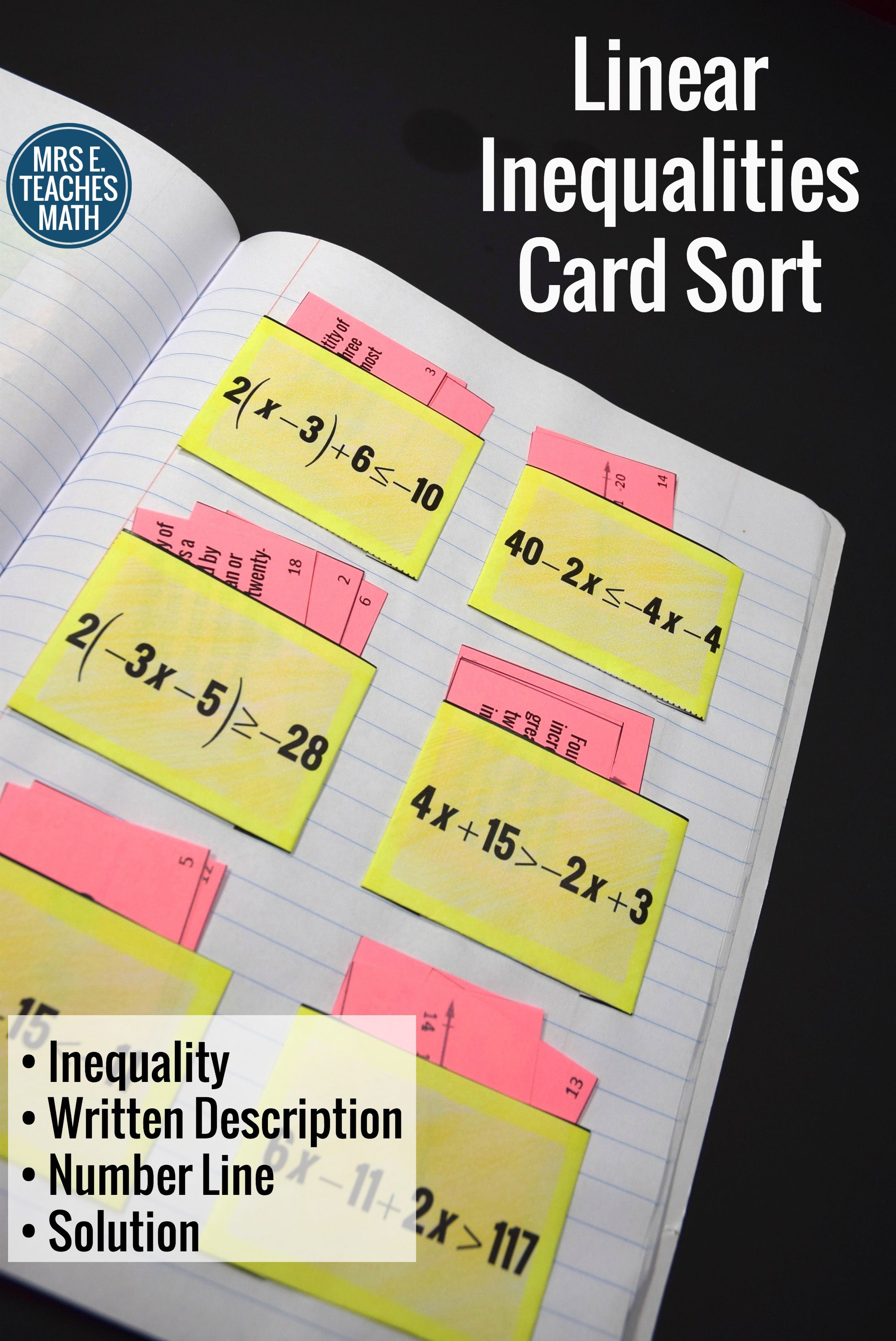 One Variable Inequalities Card Sort