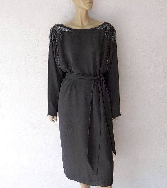 80's Evening Dress Georgeous Beaded Batwing Dress by luvofvintage, $62.00