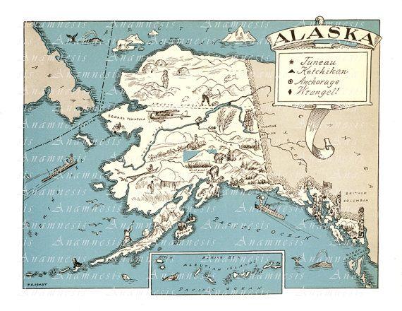 ALASKA MAP PRINT Instant Download printable vintage picture map