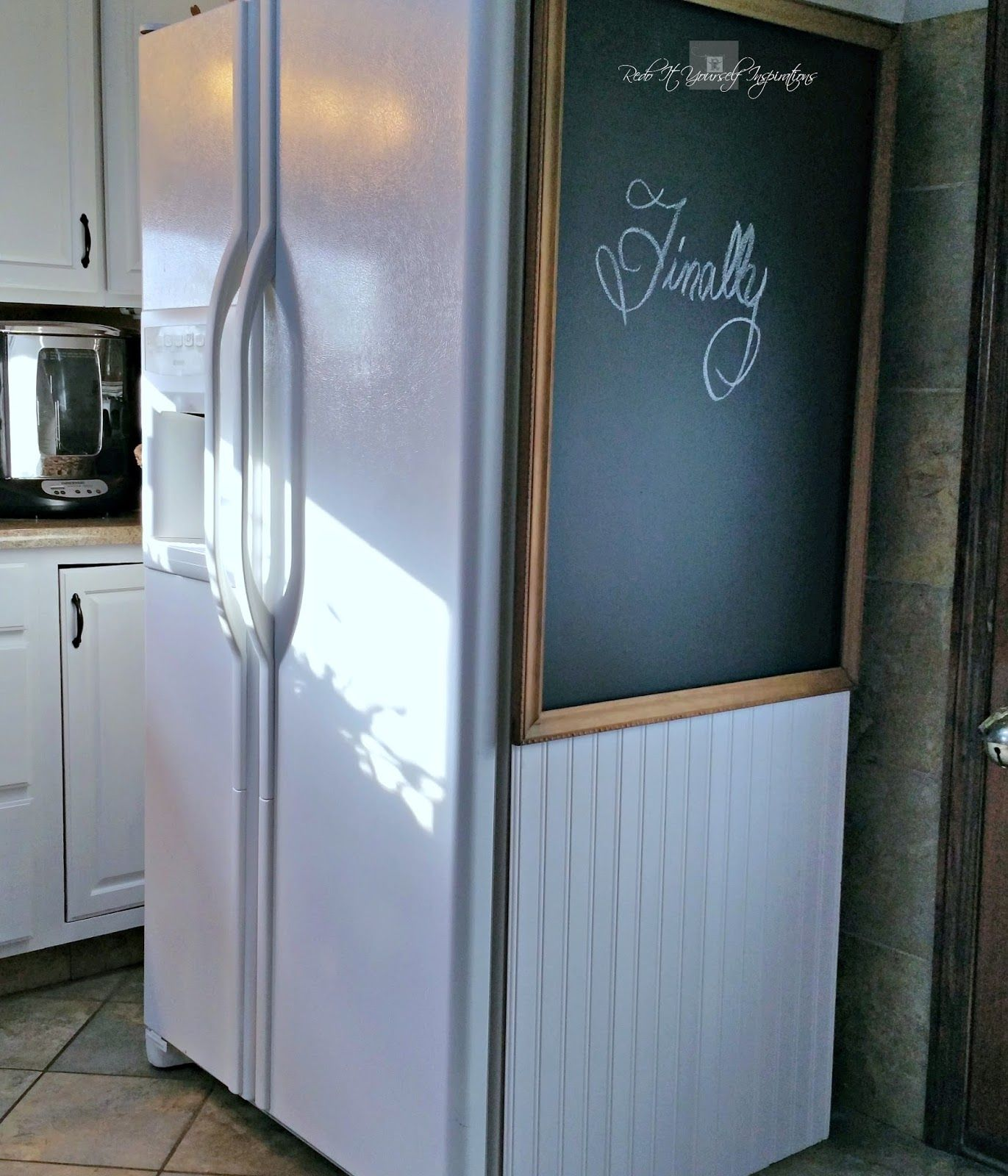 A Refrigerator Cover Up Redo It Yourself Inspirations A Refrigerator Cover Up Refrigerator Makeover Refrigerator Covers Fridge Makeover