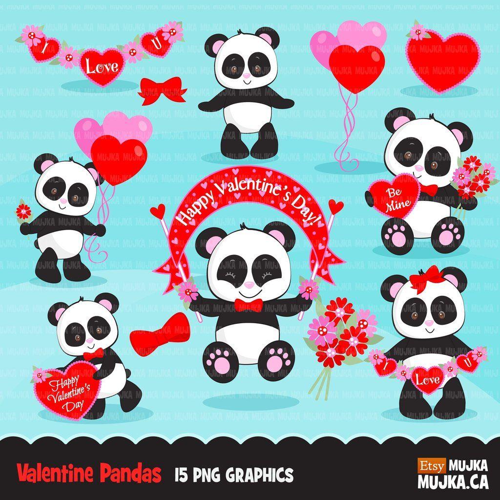 Valentine S Day Panda Animal Clipart In