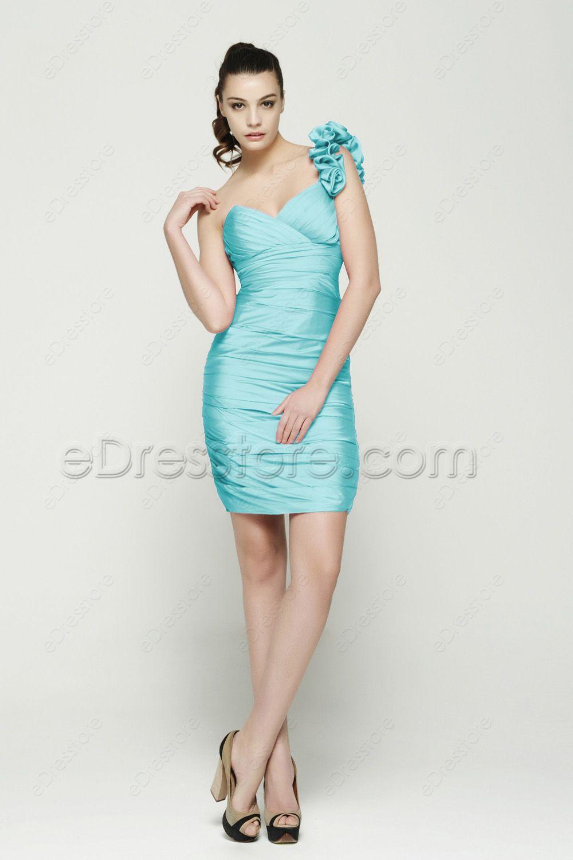 One shoulder sheath ice blue short prom dresses blue homecoming one shoulder sheath ice blue short prom dresses ombrellifo Gallery