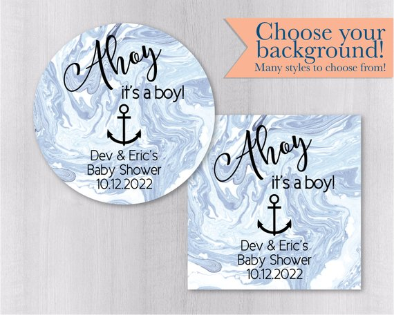Ahoy It\u0027s A Boy! Marble Background Baby Shower Nautical Anchor Baby