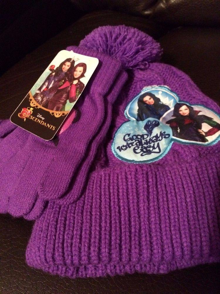a2917e0bc55fc DISNEY THE DESCENDANTS Girls Hat   Gloves set Cap Pom-Pom Beanie knit  Purple NWT  Disney  Beanie