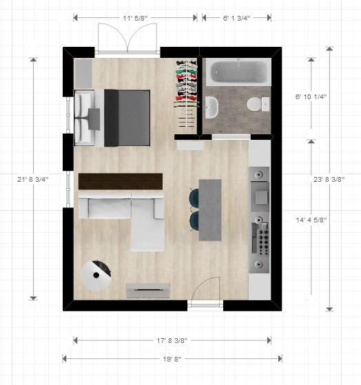 20ftx24ft cabin or studio apartment layout compact for One room studio apartment design ideas