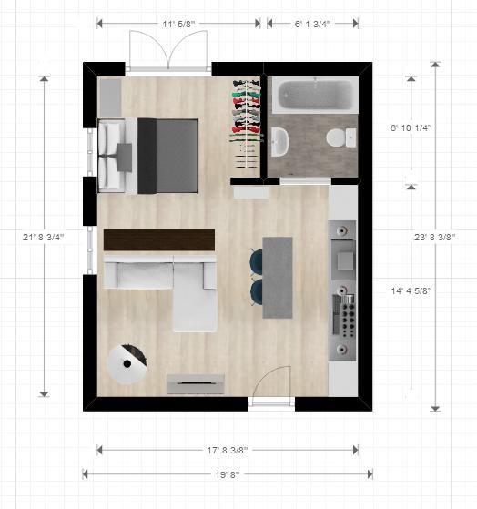 20ftx24ft Cabin Or Studio Apartment Layout Layout De Um