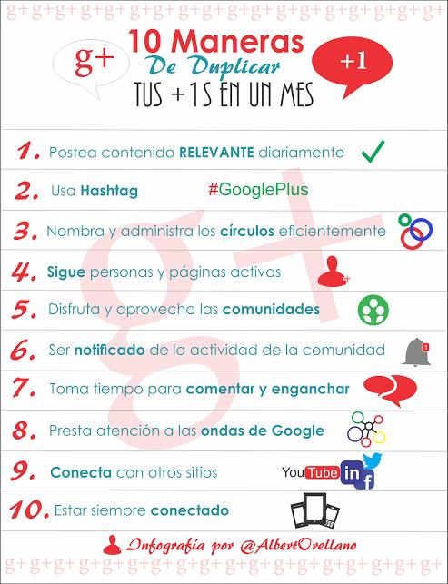 10 maneras de duplicar tus +1 en un mes #infografia #communitymanager #google+