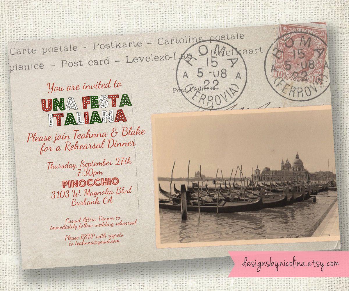 Cartolina Postale Vintage Italian Postcard Invitation - PRINTABLE ...